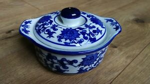 Vintage Chinese Blue White Porcelain Bowl Signed With Lid