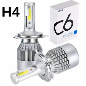 2pcs Cob H4 C6 120w 10800lm Led Car Headlight Kit Hi Lo Turbo Light Bulbs 6000k