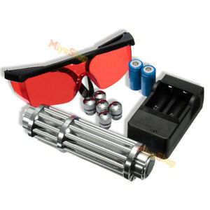 Set High Power Blue Light Laser Pointer Pen With 5 Head Batteries Charger Goggle