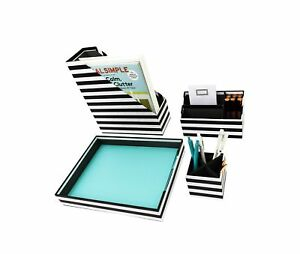 Blu Monaco Black White Stripes Desk Organizers And Accessories 4 Piece Desk