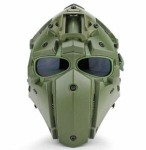 Full Face Protective Mask Tactical Airsoft Helmet with 4 Pairs Visor Goggles