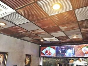 Reclaimed Corrugated Metal Tin Roofing Drop Ceiling 24 X 24