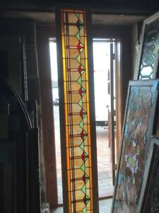 Sg 2418 Antique Art Deco Stain Glass Transom Window 14 5 X 94