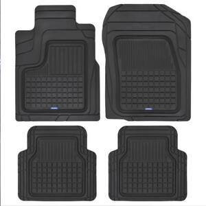 Acdelco All Weather Black Rubber Car Floor Mats 4pc Front Rear Set
