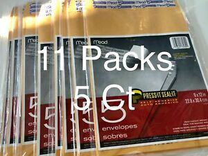Lot Of 11 Mead Press it seal Self Adhesive Envelope 9 X 12 5pk Env 55 Total