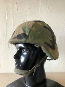 ~US MILITARY PASGT BALLISTIC HELMET SMALL + WOODLAND COVER + CHINSTRAP SPECIALTY