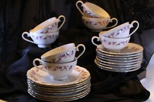 26 Pcs Tea Set By Gebr Der Benedikt Meierh Fen Bohemia Rose Garland And Gold