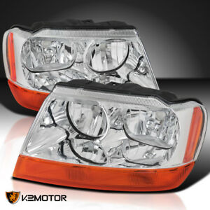 1999 2004 Jeep Grand Cherokee Clear Factory Style Headlights Amber Turn Signal