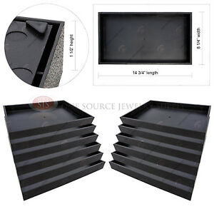 12 Piece 1 1 2 Deep Black Plastic Display Tray Storage Stackable Organizers
