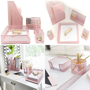 Blu Monaco Pink Desk Organizer For Women 5 Pc Accessories Set Letter Mail Sticky