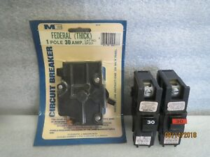 Lot of 10 federal pacific 30 amp single pole thick circuit breakers new