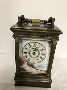 Vintage French Carriage Clock Brass Porcelain Female Nude Panels Hand Painted