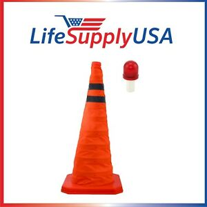 2pk Collapsible 28 Reflective Pop Up Safety Extendable Traffic Cone W Led Light