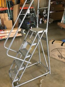 Tri arc 5 Step Steel Rolling Safety Ladder Kdsr105166 350lb Capacity