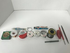 Vintage Soldering Welding Supplies Kit Kester Oatey Alpha Solder Wire 14 Pcs Lot