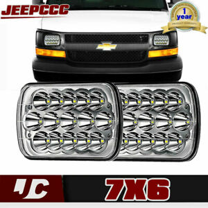 2pc 7x6 Led Headlight Sealed Headlamp For Chevy Express Cargo Van 1500 2500 3500