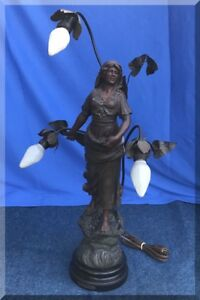 Antique Spelter Signed Figural Art Nouveau 3 Light French Semeuse Female Sower