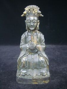 Fine Old Chinese Official Man Figure Gilt Bronze Statue Wanli Marks