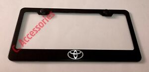 Toyota Logo Laser Style Camry Black Stainless Steel Metal License Plate Frame