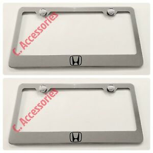 2x Honda Logo Stainless Steel Chrome Finished License Plate Frame Rust Free