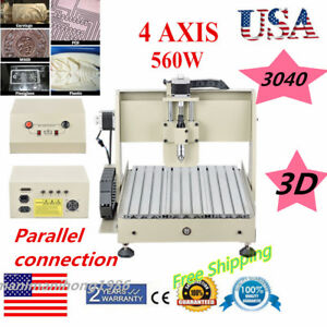 4 Axis Engraver Cnc 3040 Router Woodworking Drilling Machine Desktop 110v Usa
