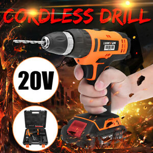 20v Led Rechargeable Cordless Electric Drill Rotary Screwdriver Driver Hammer