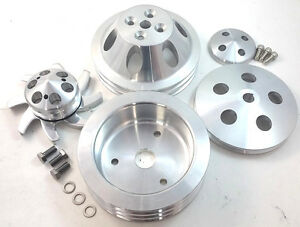 Polished Sbc Small Block Chevy 2 3 Groove Aluminum Short Pump Pulley Kit 350