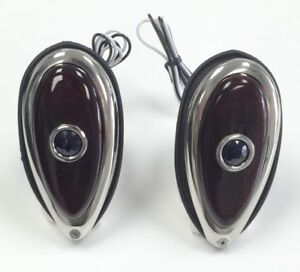 Pair 38 39 Ford Tear Drop Tail Lights Red Glass Lens With Blue Dot 12 Volt