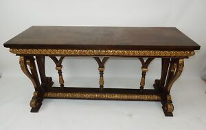 Gorgeous Neo Classical Gilt Wood Mahogany Console Table By Maitland Smith 60