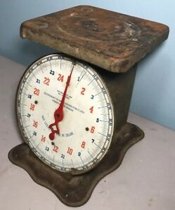 Antique Scale 1913 25 Lb Rustic Counter Scale Excellent Working Condition