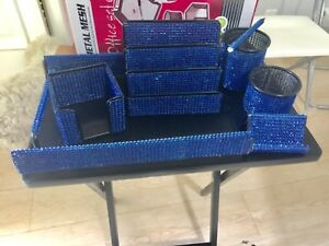 7 Piece Home Or Office Desk Set Organizer Blue Mesh Bling Gift Closeout