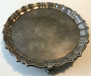 Antique Tiffany Co London Sterling Footed Salver Tray By Hawksworth Eyre Co