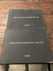 2 Antique Very Rare Mosler Patent Manganese Bank Safe Books No 139 And No 89