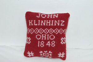 Red Coverlet Pillow 1848 Pin Keep John Klinhinz Ohio