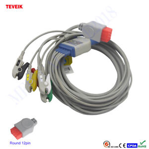One piece 5 Leads Ecg Cable With 1k Ohm For Bionet Bm5 Clip Iec 12pin