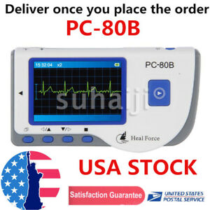 Pc 80b Heal Force Portable Handheld Color Ecg Ekg Heart Monitor Lead Cable Usa