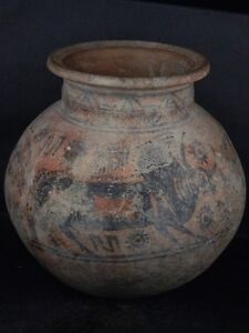 Ancient Huge Size Teracotta Painted Pot With Bulls Indus Valley 2500 Bc Ik458