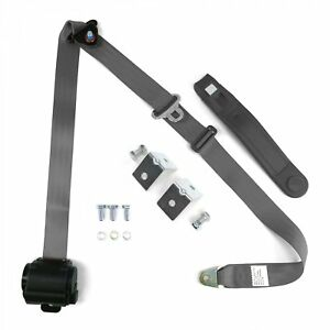 3pt Gray Grey Retractable Seat Belt With Mounting Brackets Standard Buckle