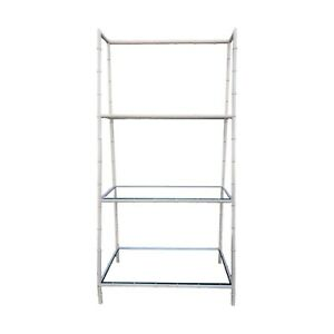 Vintage 3 Shelf Tapered Faux Bamboo Etagere Ladder Style Aluminum Shelving Unit