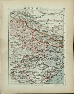 British India North Nepal Bengal Tibet 1882 Charming Small Dutch Old Map