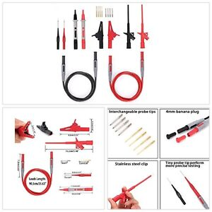 Electrical Multimeter Test Lead Kit Alligator Clips Test Probe Spring Grabber Us