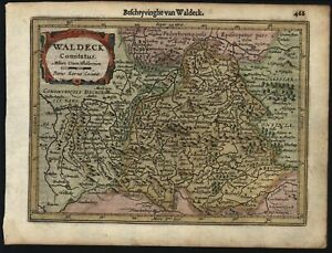 Waldeck Germany Antique Beautiful C 1628 Mercator Minor Old Map
