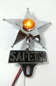 Safety Star License Plate Topper Dual Function Amber Led Vtg Car Accessory