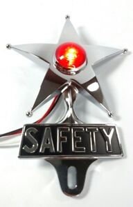 Safety Star License Plate Topper Dual Function Red Led Vtg Car Accessory