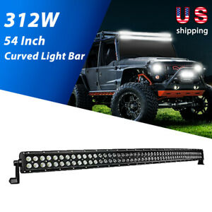 Nilight 54 Inch 312w Curved Led Light Work Bar Off road Driving Lamp Boat Truck