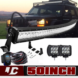 1999 2004 Jeep Grand Cherokee Wj Upper Roof 50 Led Light Bar 4 Pods Cube Wires