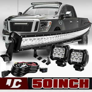 50 Curved S F Led Light Bar 4 Pods Wiring For 2004 14 Nissan Titan Upper Roof