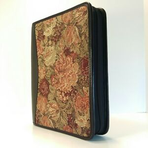 Franklin Covey Classic Tapestry Planner Organizer Black Leather Zipper Binder