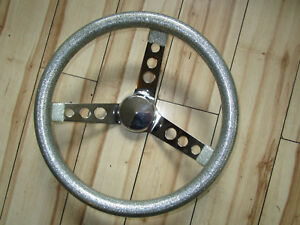 New Silver Metalflake Steering Wheel Approx 13 In