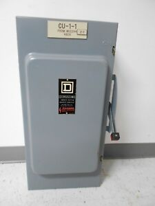 Square D Hu364 200 Amp 600 Volt 3 Phase Non Fusible Indoor Disconnect